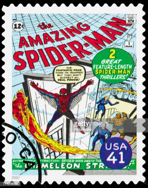 usa spider-man comic book cover postage stamp - comic book stock pictures, royalty-free photos & images