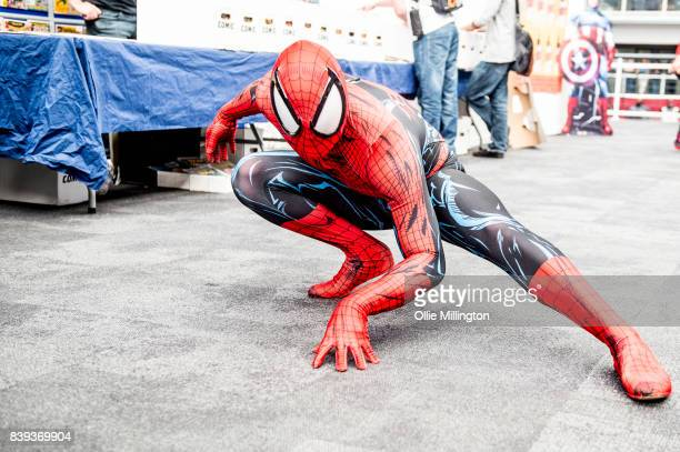 SpiderMan cosplayer seen during Day 1 of the London Super Comic Con at Business Design Centre on August 25 2017 in London England