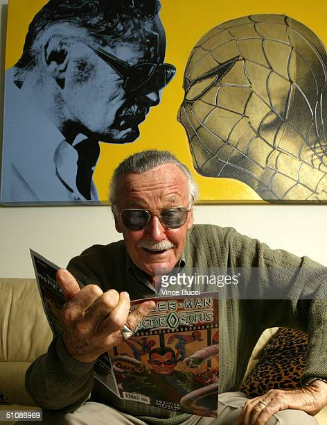 SpiderMan creator Stan Lee poses at his office on June 18 2004 in Beverly Hills California