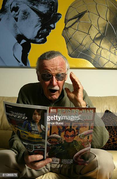 Spider-Man creator Stan Lee poses at his office on June 18, 2004 in Beverly Hills, California.