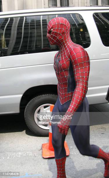 'SpiderMan' during Tobey Maguire Topher Grace James Cromwell and Bryce Dallas Howard on the Set of 'SpiderMan 3' May 28 2006 at 6th Avenue in New...