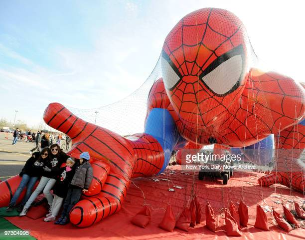 Spider-Man, dwarfing spectators in Meadowlands Sports Complex yesterday, was one of behemoth balloons tested for the Macy's Thanksgiving Day Parade....