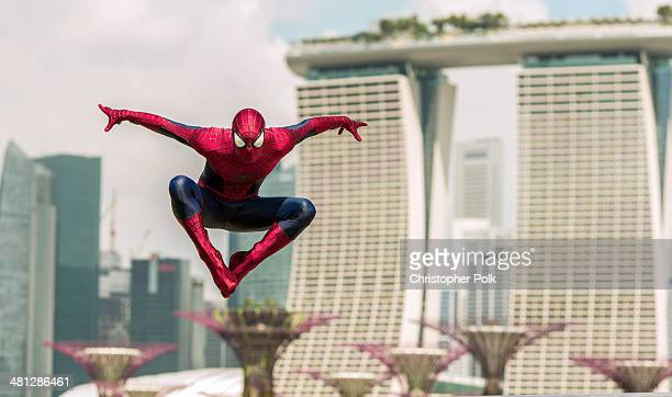 SpiderMan explores Singapore during his time in town for 'The Amazing SpiderMan 2' on March 27 2014 in Singapore