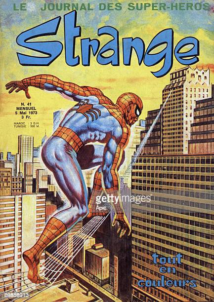 Spiderman features on the cover of the French comic strip magazine Strange published 5th May 1973
