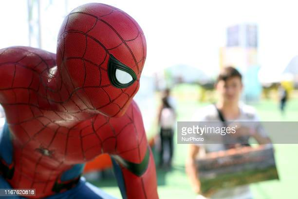 Spider-Man figure is pictured during the Comic Con Portugal 2019 on the Day 1, in Lisbon, Portugal, on September 12, 2019.