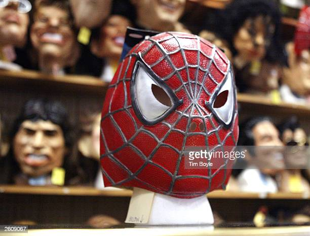 Spiderman mask is displayed at the Fantasy Costumes HDQ store October 17 2003 in Chicago Illinois Halloween the day normally observed with dressing...