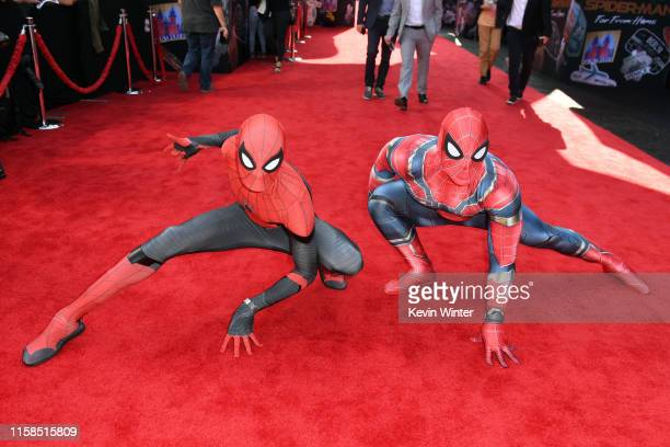 Spiderman performers are seen at the premiere of Sony Pictures' SpiderMan Far From Home at TCL Chinese Theatre on June 26 2019 in Hollywood California