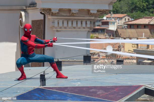 Spider-man stuntman attends the 'Spider-Man : Homecoming' photocall at Zuma on June 20, 2017 in Rome, Italy.
