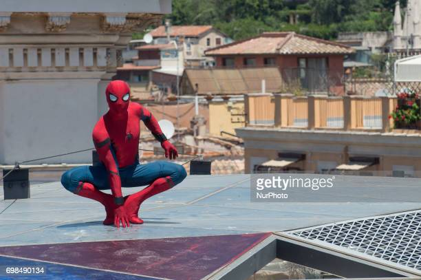 Spiderman stuntman attends the 'SpiderMan Homecoming' photocall at Zuma on June 20 2017 in Rome Italy