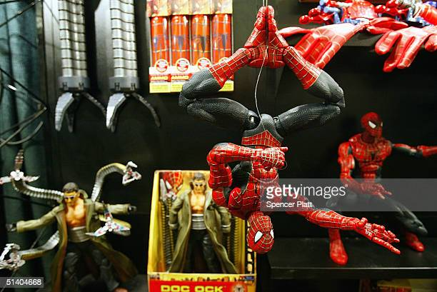 SpiderMan toys from Toy Biz are displayed at the Toy Industry Association Toy Wishes Holiday Preview show October 5 2004 in New York City The second...