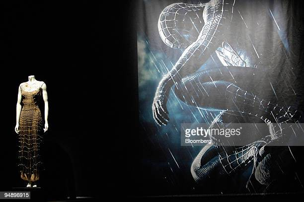 Spidermaninspired dress sits on display at the presentation of the Metropolitan Museum of Art's Costume Institute exhibition called 'The Power of...