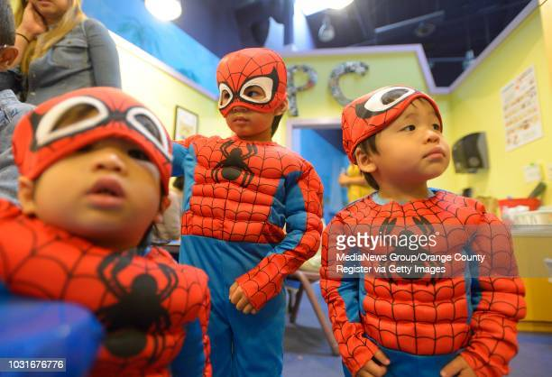 Spidermen Adam Bagatsing Sean Bagatsing of Irvine and Lucas Cheng of Costa Mesa at Pretend City on Friday in Irvine Pretend City Children's Museum...