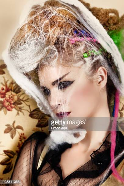 spiderweb punk woman - 80s punk rock stock photos and pictures