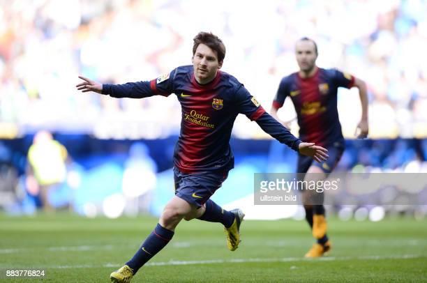 FUSSBALL INTERNATIONAL PRIMERA DIVISION SAISON 2011/2012 26 Spieltag El Clasico Real Madrid FC Barcelona JUBEL Lionel Messi nach seinem Tor zum 11...