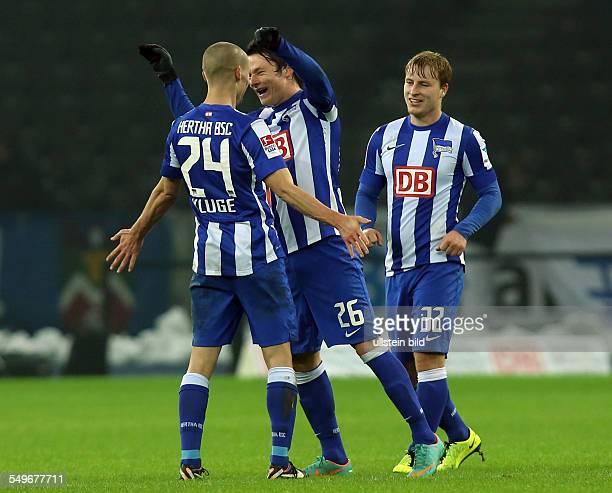 Spieltag, Saison 2012/2013 - Peer Kluge, Nico Schulz, Fabian Holland, Aktion, Jubel, Freude, Emotion , Hertha BSC Berlin - FC Kaiserslautern FCK, ,...