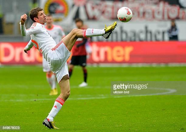 Spieltag, Saison 2012/2013 - Thomas Mueller in Aktion waehrend dem Fussball Bundesliga Spiel Eintracht Frankfurt gegen FC Bayern Muenchen am 28....