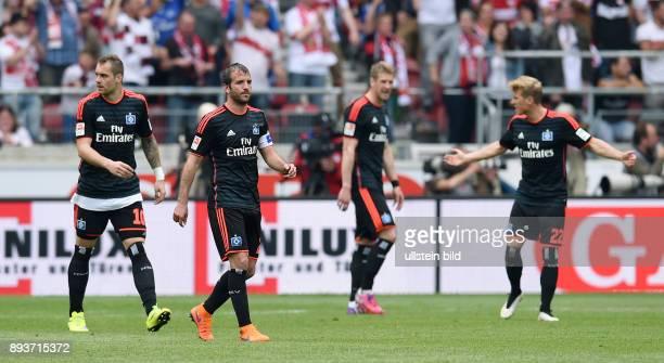 FUSSBALL 1 BUNDESLIGA SAISON 2014/2015 33 Spieltag VfB Stuttgart Hamburger SV Enttaeuschung Hamburger SV PierreMichel Lasogga und Rafael van der Vaart