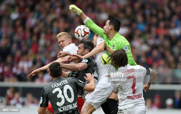 FUSSBALL 1 BUNDESLIGA SAISON 2014/2015 30 Spieltag VfB Stuttgart SC Freiburg Christian Guenter Timo Baumgartl Marc Torrejon Georg Niedermeier Torwart...