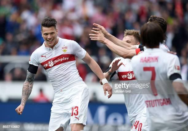 FUSSBALL 1 BUNDESLIGA SAISON 2014/2015 30 Spieltag VfB Stuttgart SC Freiburg VfB Stuttgart Torschuetze zum 10 Daniel Ginczek