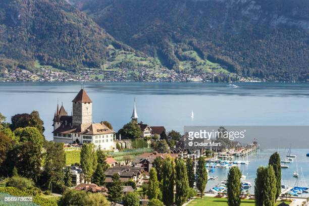 spiez castle by lake thun in canton bern, switzerland - ベルン ストックフォトと画像