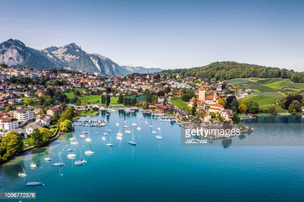 spiez castle by lake thun in canton of bern, switzerland - switzerland stock pictures, royalty-free photos & images