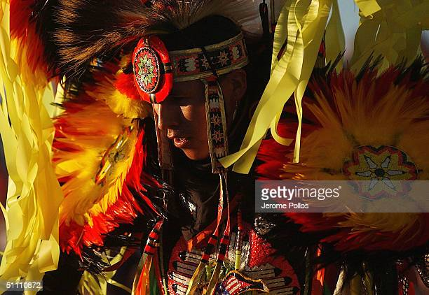 Spike Draper a member of the Navajo Nation dances in the grand entry of the Julyamsh Pow Wow in Post Falls on July 22 2004 Idaho The Julyamsh is...