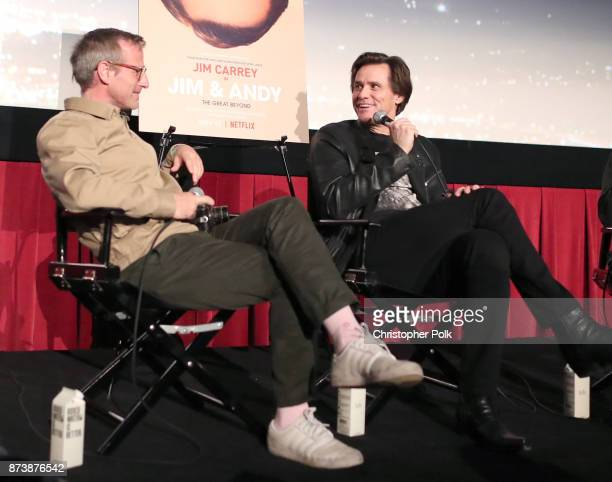 Spike Jonze and Jim Carrey speak onstage during 'Jim Andy The Great Beyond Featuring a Very Special Contractually Obligated Mention of Tony Clifton'...
