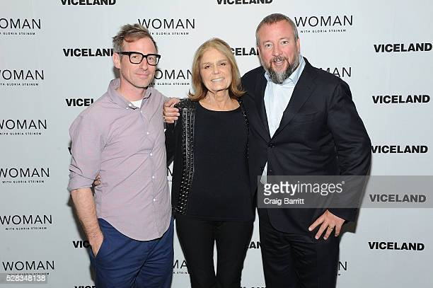 Spike Jonze Gloria Steinem and Shane Smith attend the VICELAND New York premiere screening of Gloria Steinem's 'Woman' on May 4 2016 in New York City