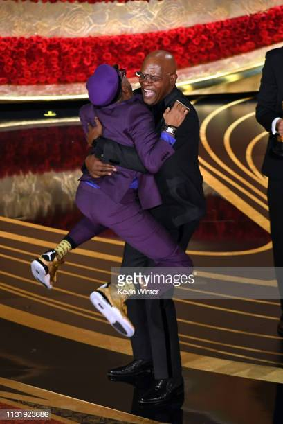 Spike Lee accepts the Adapted Screenplay award for 'BlacKkKlansman' Samuel L Jackson onstage during the 91st Annual Academy Awards at Dolby Theatre...