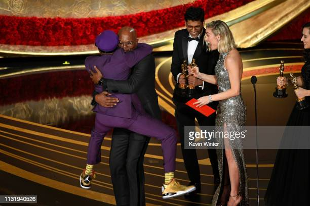Spike Lee accepts the Adapted Screenplay award for BlacKkKlansman from Samuel L Jackson and Brie Larson onstage during the 91st Annual Academy Awards...