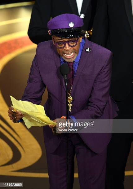 Spike Lee accepts the Adapted Screenplay award for 'BlacKkKlansman' onstage during the 91st Annual Academy Awards at Dolby Theatre on February 24...