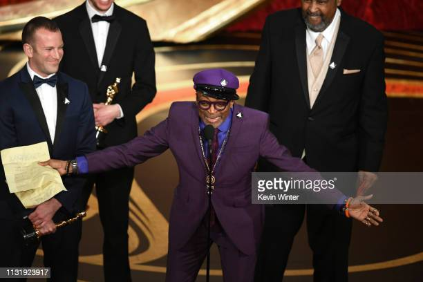 Spike Lee accepts the Adapted Screenplay award for 'BlacKkKlansman' onstage during the 91st Annual Academy Awards at Dolby Theatre on February 24,...