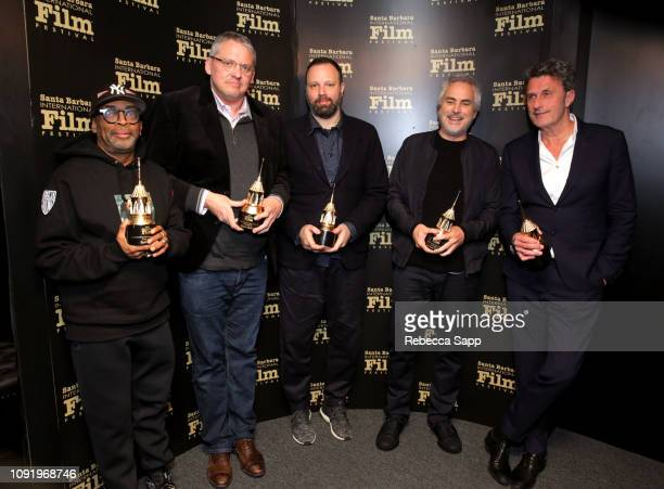 Spike Lee Adam McKay Yorgos Lanthimos Alfonso Cuaron and Pawel Pawlikowski pose backstage at the Outstanding Directors Award during the 34th Santa...