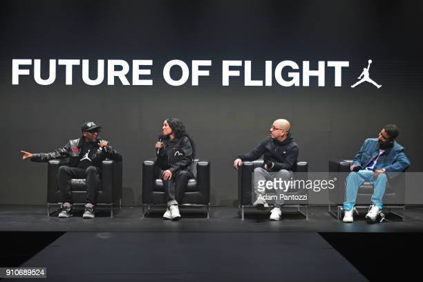 Spike Lee Aleali May Shea Serrano and Don C speak on a panel during the 2018 Brand Jordan NBA AllStar Uniforms Unveiling on January 25 2018 at CBS...