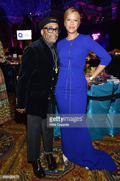 Spike Lee and Actress Tonya Lewis Lee attend Elton John AIDS Foundation's 14th Annual An Enduring Vision Benefit at Cipriani Wall Street on November...