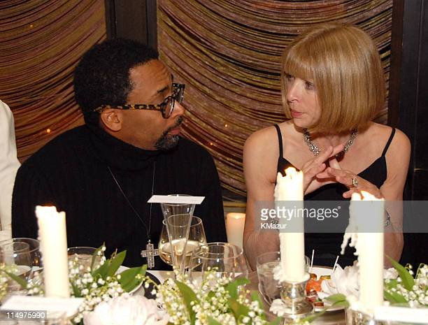 Spike Lee and Anna Wintour during Dior Presents the 2007 Cruise Collection Dinner at Four Seasons in New York City New York United States