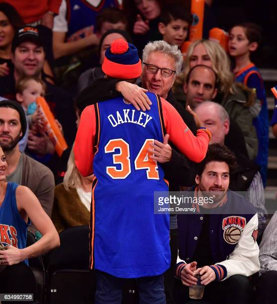 Spike Lee and Dustin Hoffman attend the San Antonio Spurs Vs New York Knicks game at Madison Square Garden on February 12 2017 in New York City