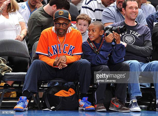 Spike Lee and his son Jackson Lee attend a game between the Houston Rockets and the New York Knicks at Madison Square Garden on March 21 2010 in New...
