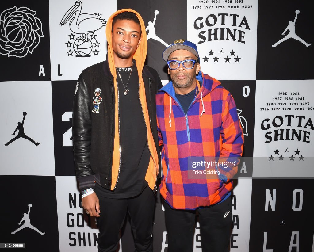 Spike Lee and his son Jackson Lee attend Jordan Brand: 2017 All-Star Party at Seven Three Distilling Co. on February 17, 2017 in New Orleans, Louisiana.
