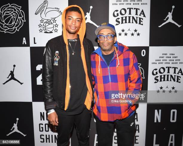 Spike Lee and his son Jackson Lee attend Jordan Brand 2017 AllStar Party at Seven Three Distilling Co on February 17 2017 in New Orleans Louisiana