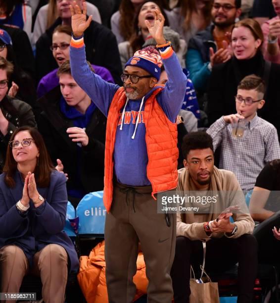 Spike Lee and Jackson Lee attend Boston Celtics v New York Knicks game at Madison Square Garden on December 1 2019 in New York City