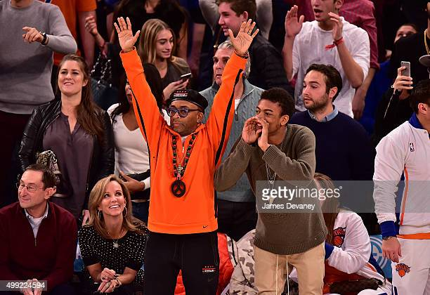 Spike Lee and Jackson Lee attend New York Knicks vs Houston Rockets game at Madison Square Garden on November 29 2015 in New York City