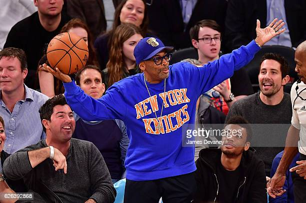 Spike Lee and Jackson Lee attend New York Knicks vs Oklahoma City Thunder game at Madison Square Garden on November 28, 2016 in New York City.