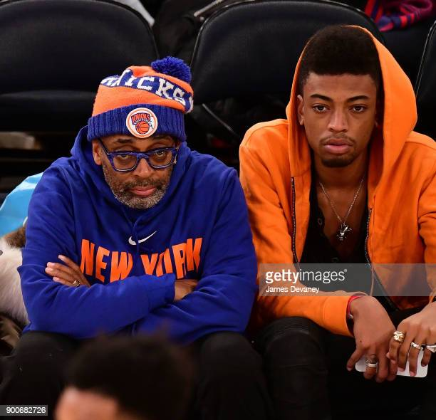 Spike Lee and Jackson Lee attend the New York Knicks Vs San Antonio Spurs game at Madison Square Garden on January 2, 2018 in New York City.