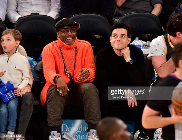 Spike Lee and Rami Malek attend the Portland Trail Blazers vs New York Knicks game at Madison Square Garden on November 20 2018 in New York City