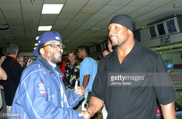 Spike Lee and Ray Lewis during Ray Lewis Foundation Celebrity Bowling Match at Normandy Brunswick Lanes in Baltimore MD