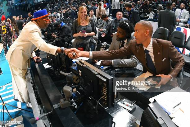 Spike Lee and Reggie Miller shake hands before the 2019 NBA AllStar Game on February 17 2019 at the Spectrum Center in Charlotte North Carolina NOTE...