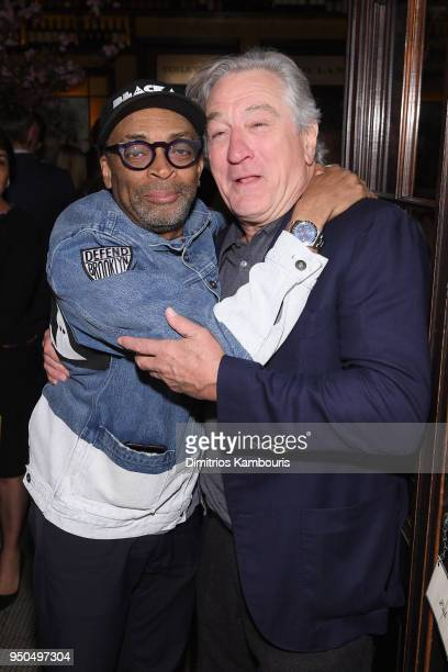 Spike Lee and Robert De Niro attend the CHANEL Tribeca Film Festival Artists Dinner at Balthazar on April 23 2018 in New York City