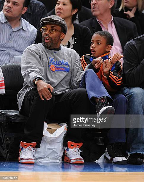Spike Lee and son Jackson Lee attend Boston Celtics vs New York Knicks game at Madison Square Garden on February 6 2009 in New York City