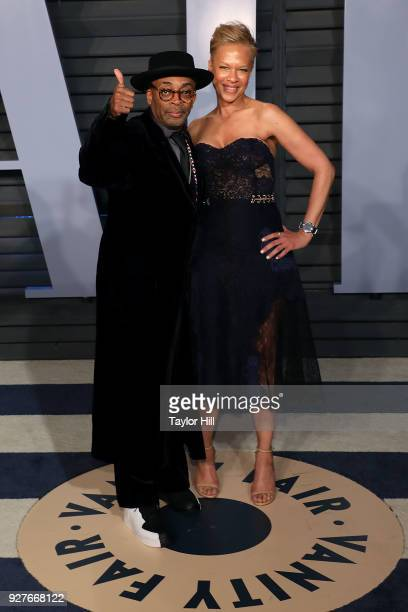 Spike Lee and Tanya Lewis Lee attend the 2018 Vanity Fair Oscar Party hosted by Radhika Jones at Wallis Annenberg Center for the Performing Arts on...